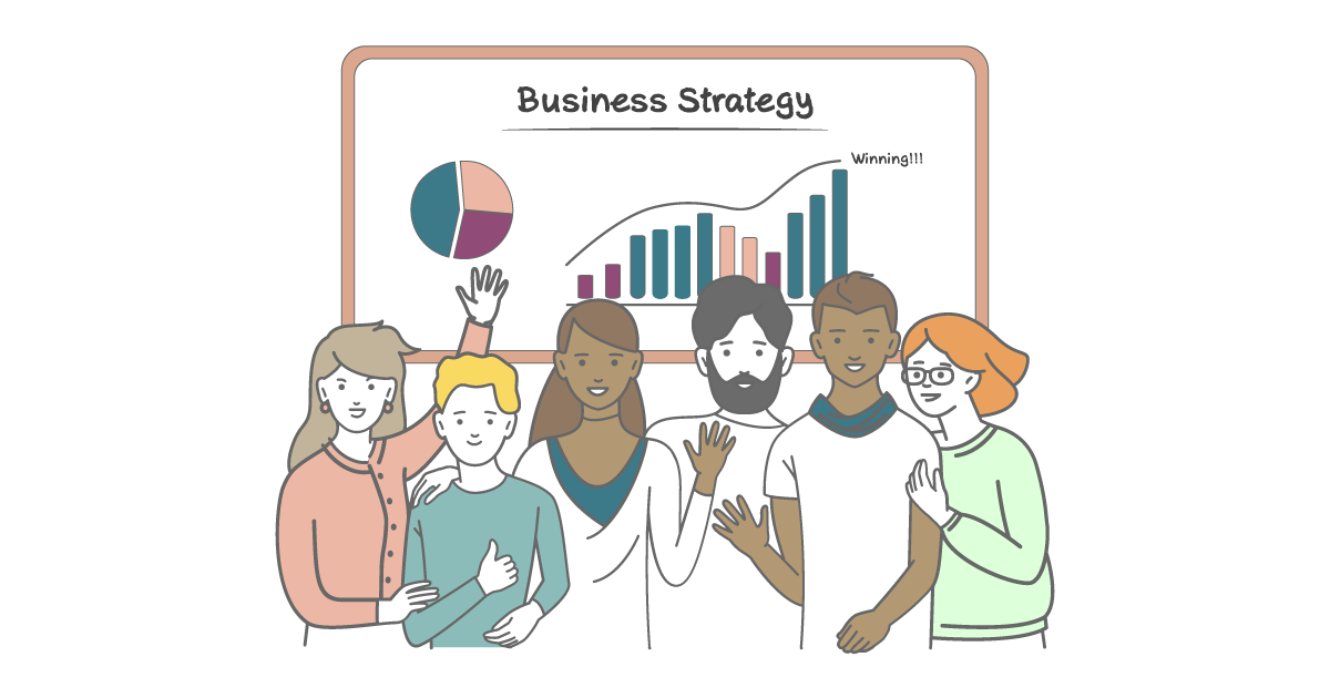 Six cartoon entrepreneurs stand in front of a poster that says 'Business Strategy'