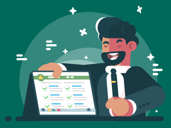 A bearded cartoon man with swanky hair holding a computer