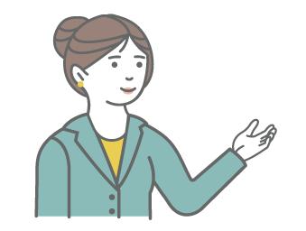 A cartoon businesswoman gesturing with an open hand