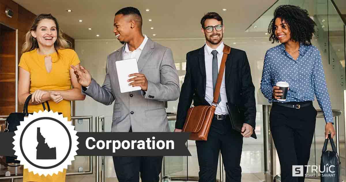 Four Idaho entrepreneurs deciding how to form an Idaho corporation.