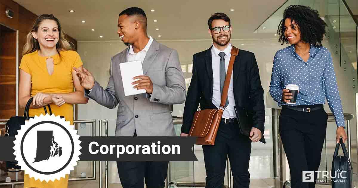 Four Rhode Island entrepreneurs deciding how to form a Rhode Island corporation.