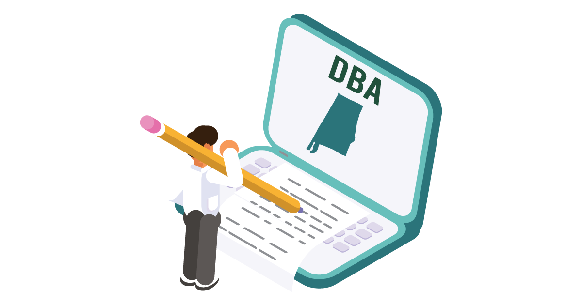 Image of a man looking up how to file a DBA in Alabama
