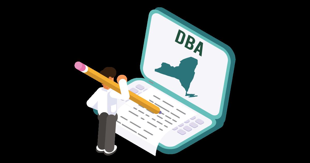 Image of a man looking up how to file a D B A in New York