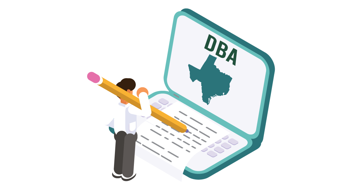 Image of a man searching how to file a D B A in Texas online