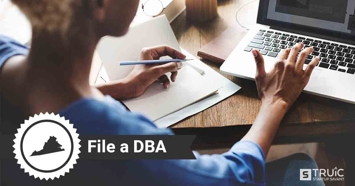 Image of a man searching how to file a D B A in Virginia online