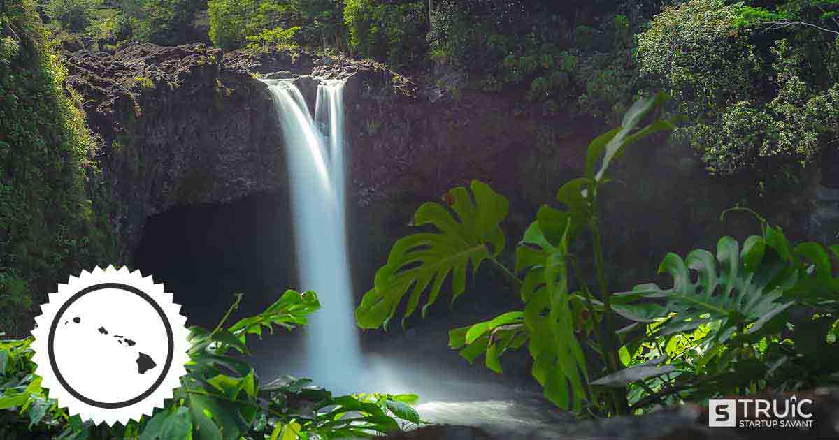 A waterfall in Hawaii.