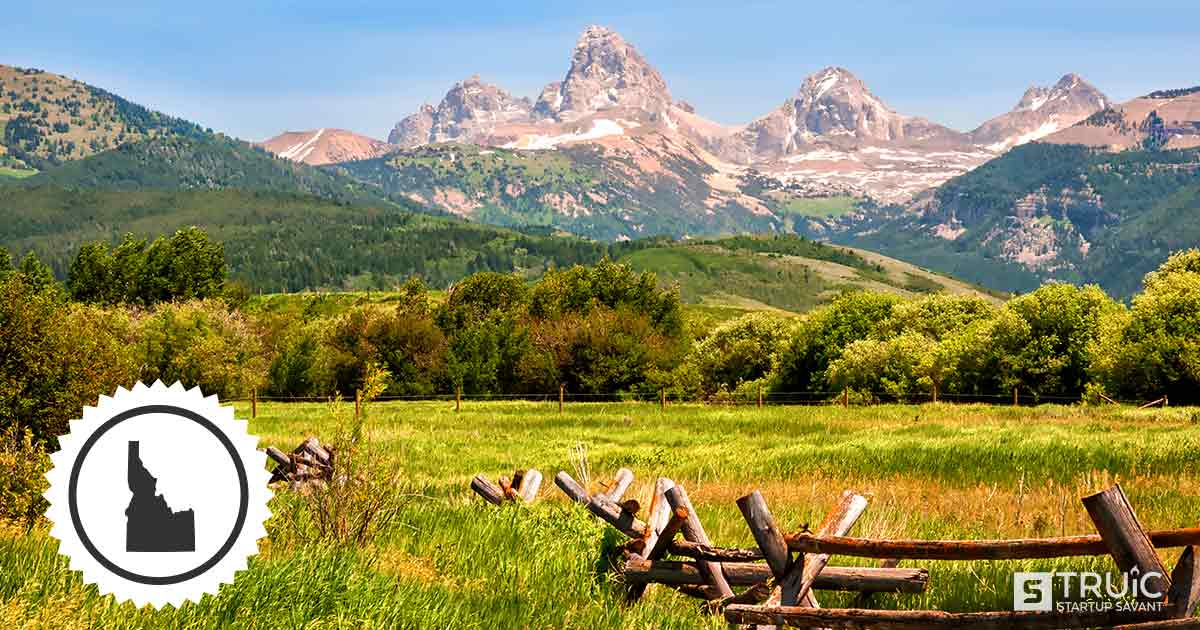 Landscape scenery with mountains and land in Idaho.