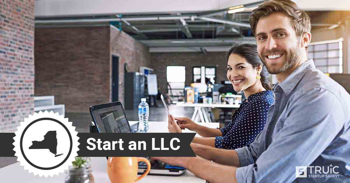 """Woman at computer holding a mug, and text that says, """"Start an LLC."""""""