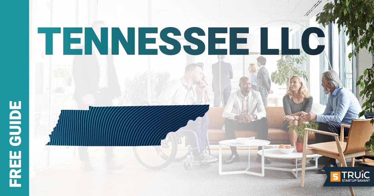 "Woman at computer holding mug, and text that says, ""Start an LLC."""