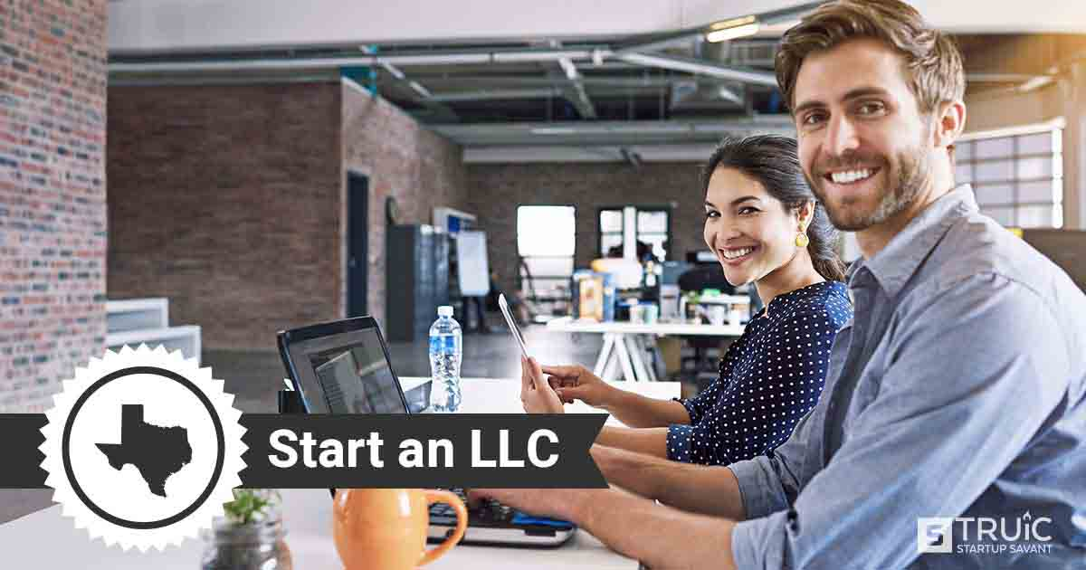 "Woman at computer reading about how to start an llc in texas and text that says, ""Start an LLC."""