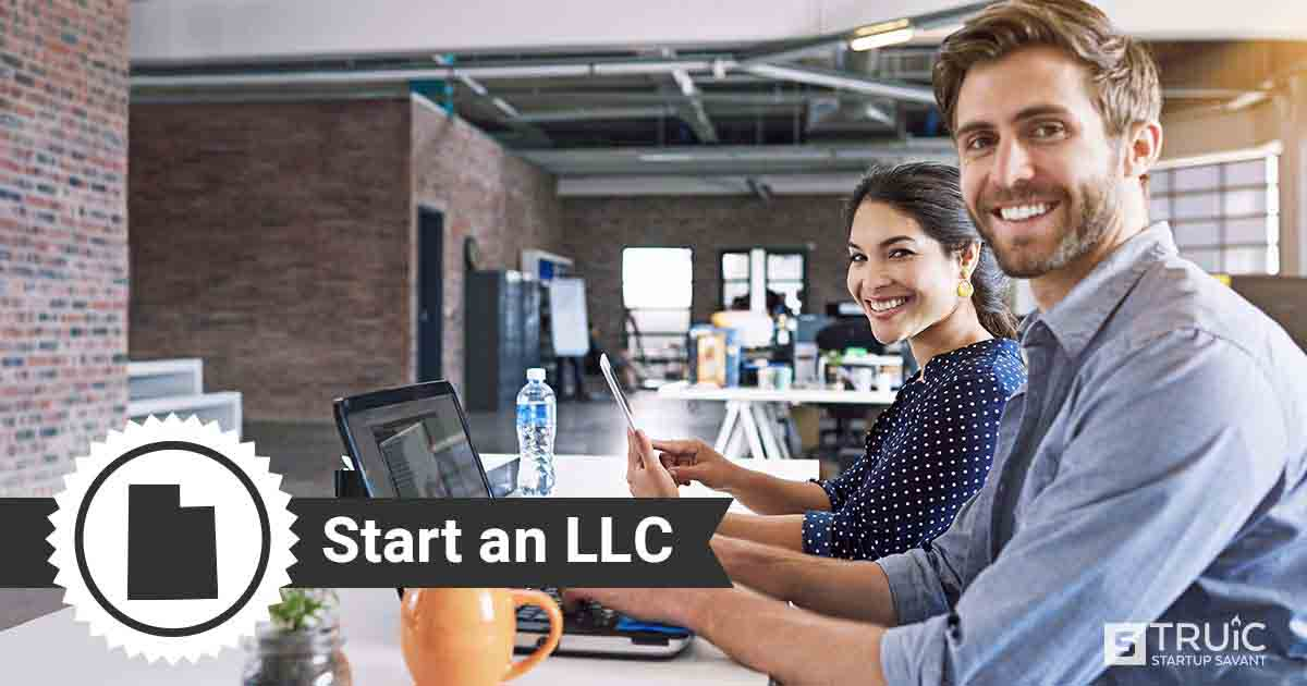 "Woman at computer holding mug, and text that says, ""Start an LLC."""