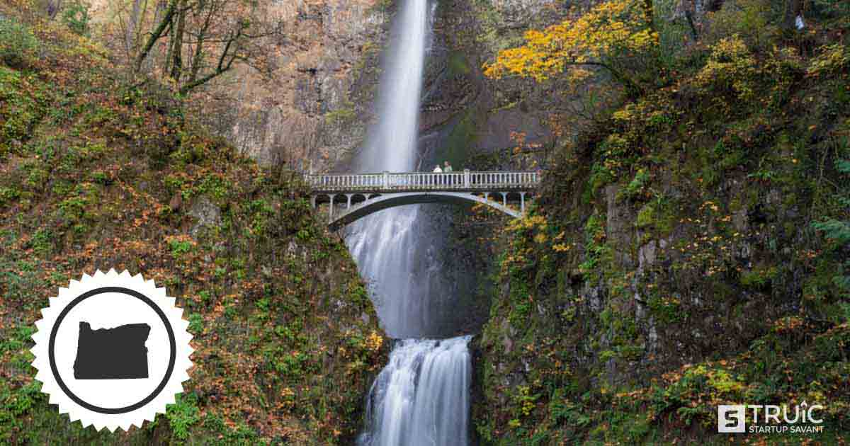 Landscape of a waterfall and a bridge in Oregon.