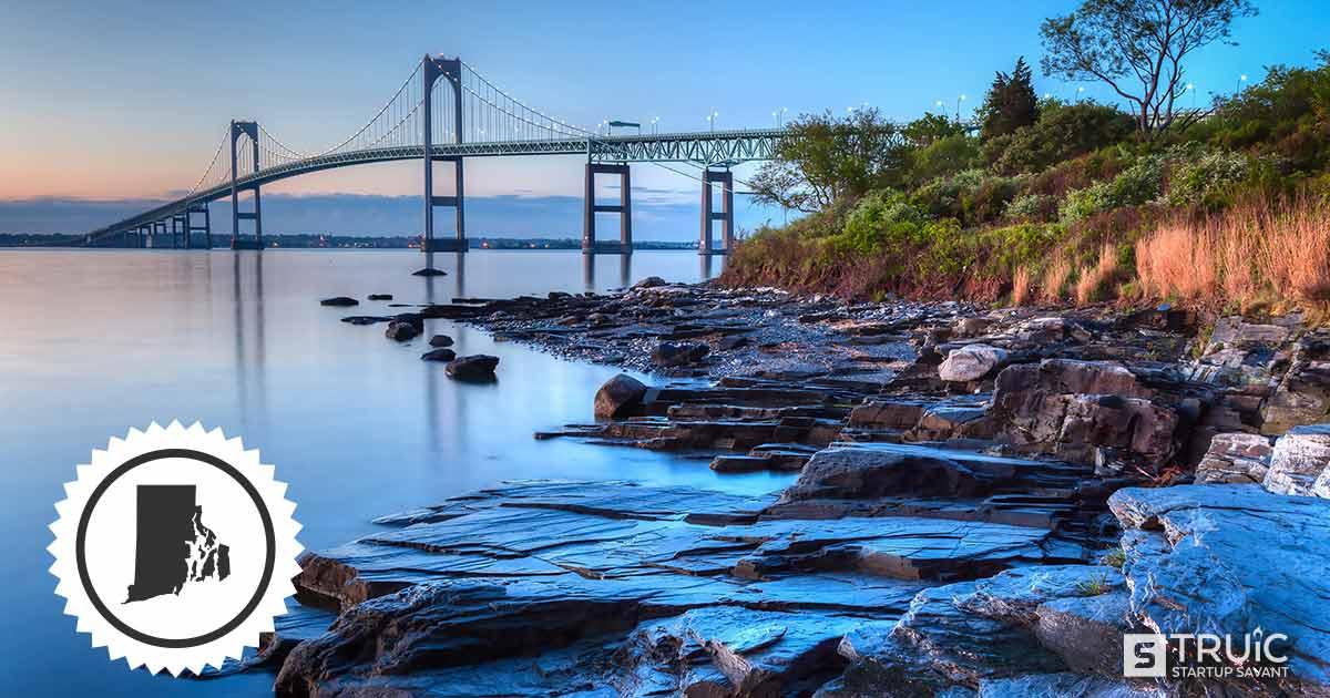 Landscape of a lake and bridge in Rhode Island.