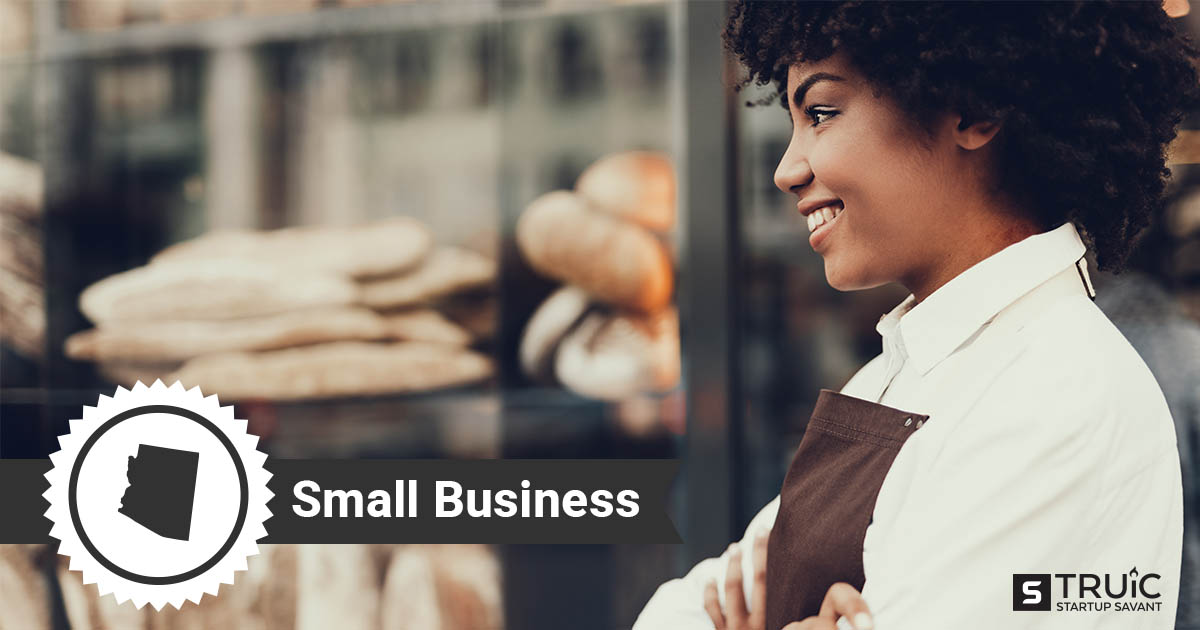 An outline of Arizona and woman with her arms crossed, smiling in front of her small business.