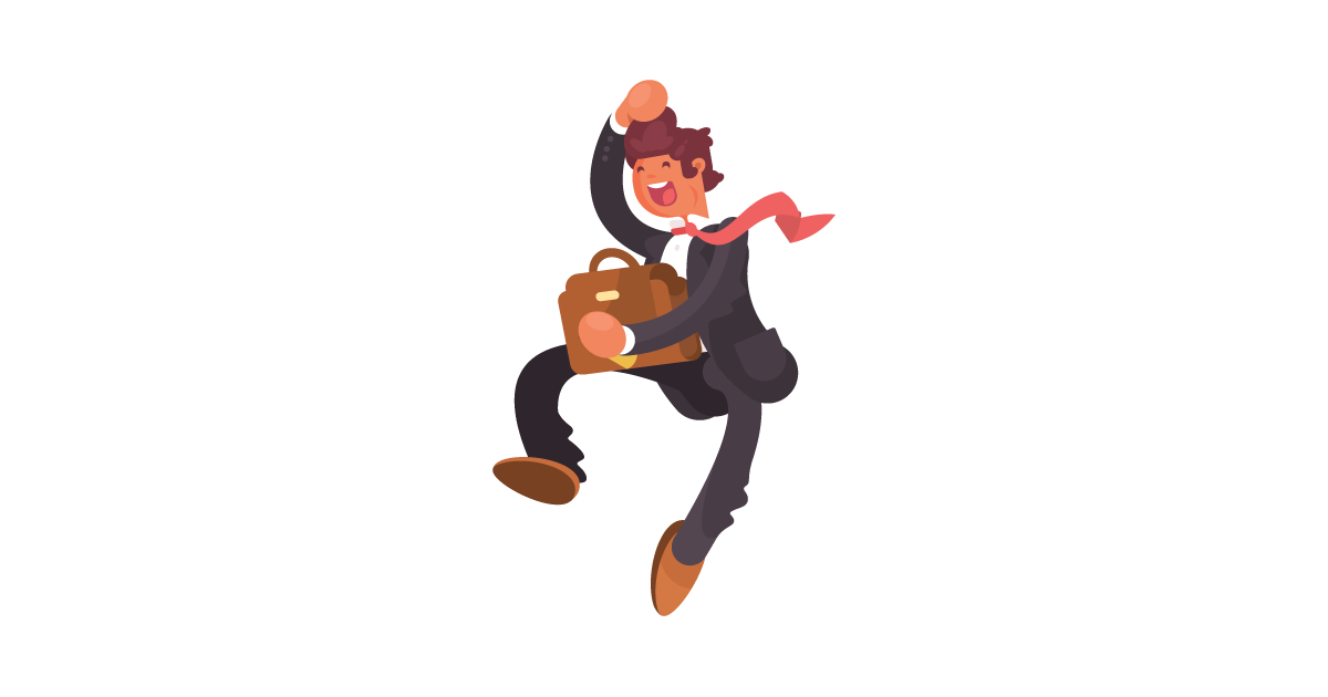 A jumping businessman in front of an outline of California