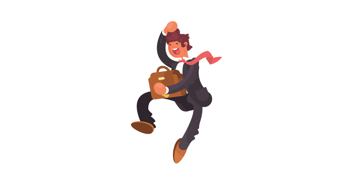 A jumping businessman in front of an outline of Georgia