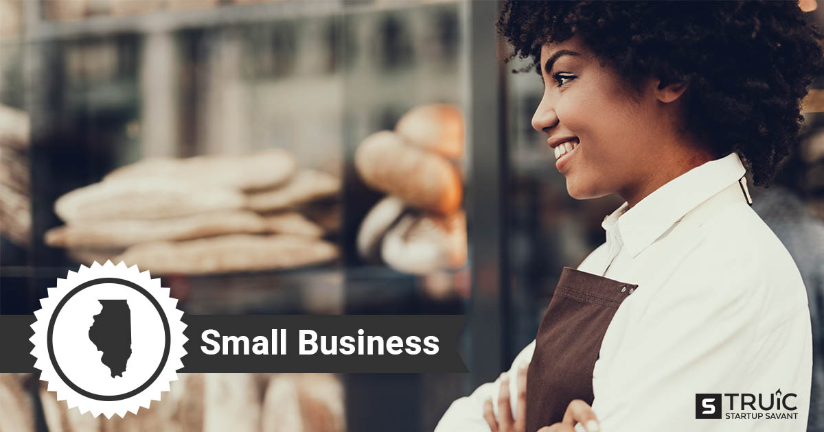 An outline of Illinois and woman with her arms crossed, smiling in front of her small business.