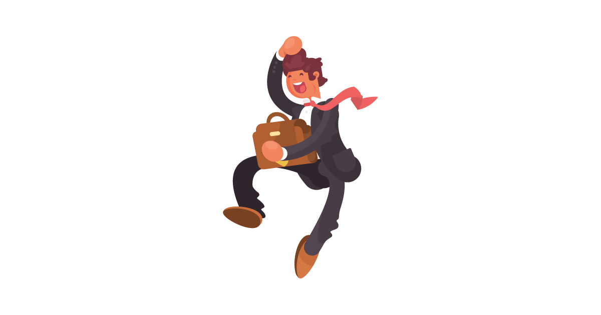 A jumping businessman in front of an outline of Montana