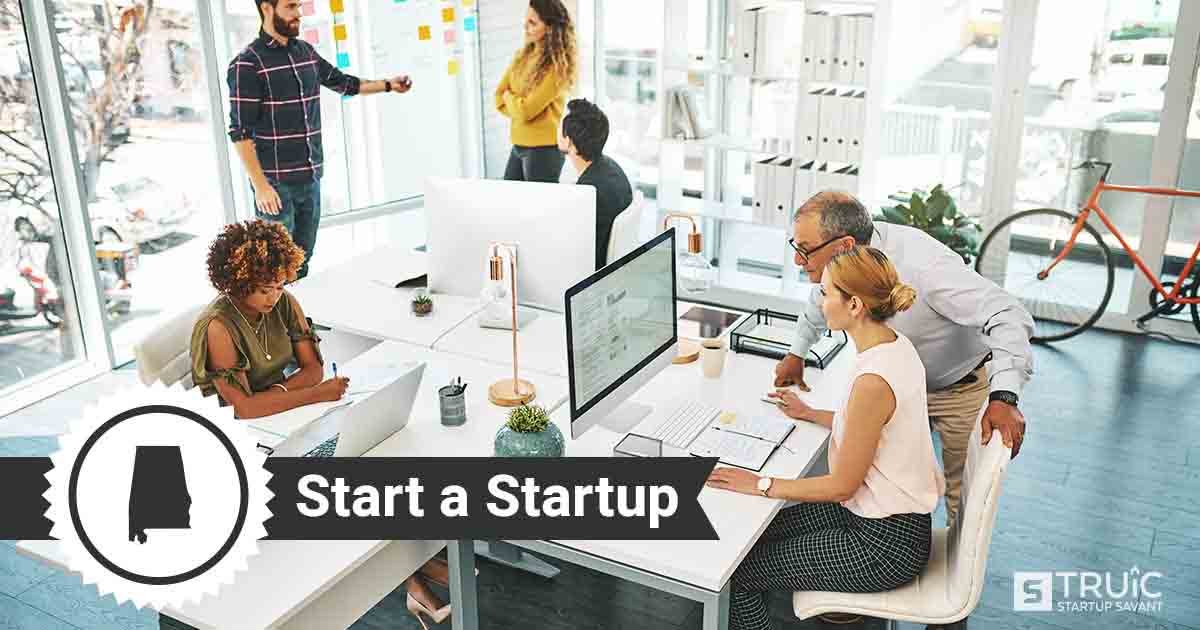 Outline of Alabama with text saying, Start a Startup, over an image of entrepreneurs working at a startup office.