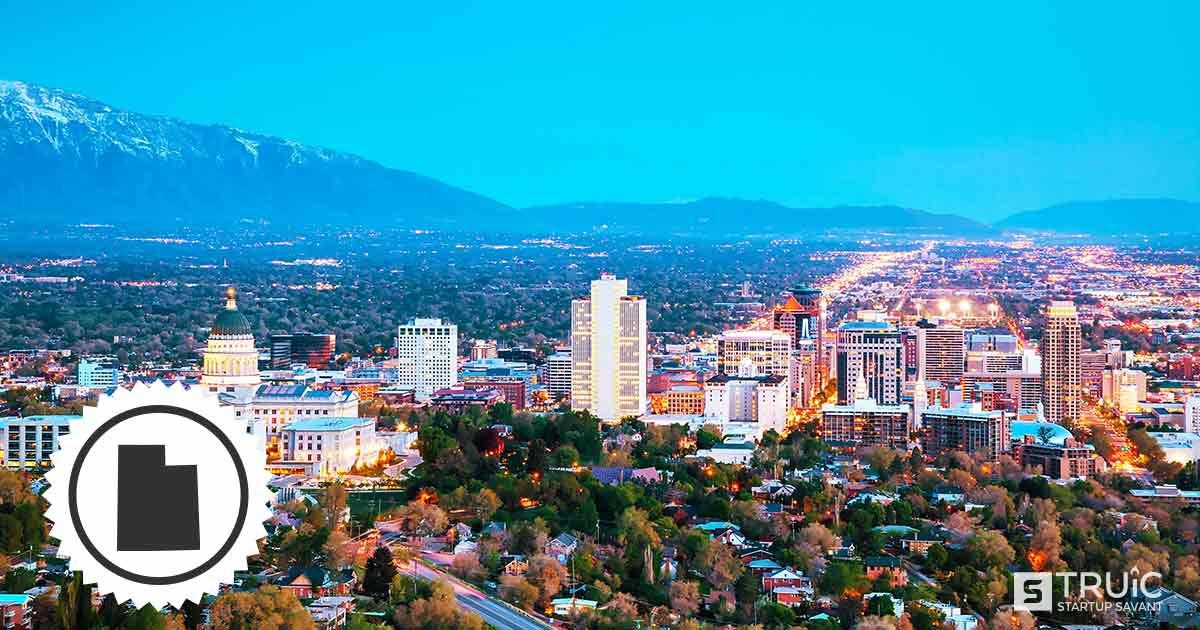 Salt Lake City skyline in Utah.