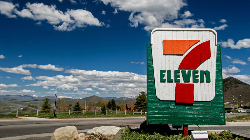 7-Eleven sign.