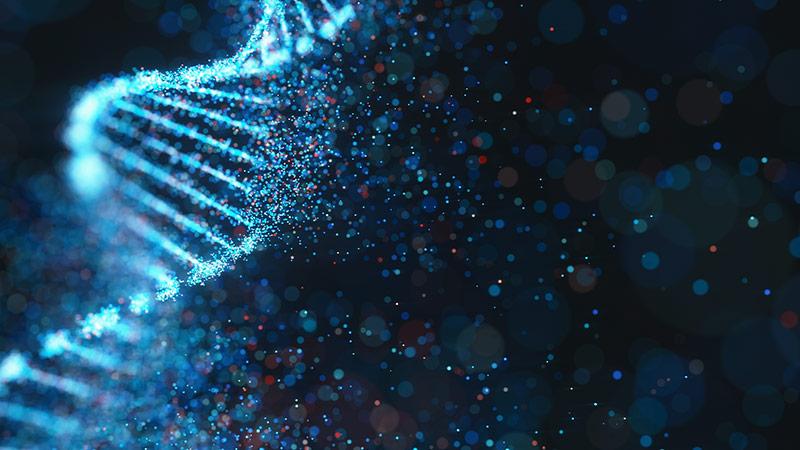 3D illustration of a DNA strand.