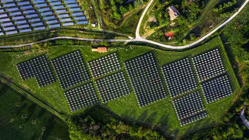 Aerial view of a solar energy station.