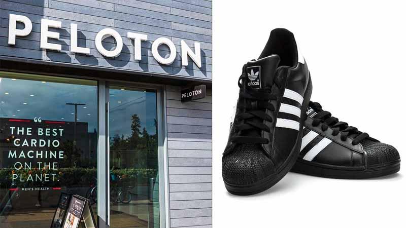 Peloton storefront; Adidas shoes.