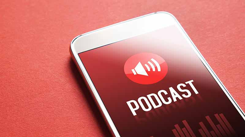 Podcast app on a smartphone.
