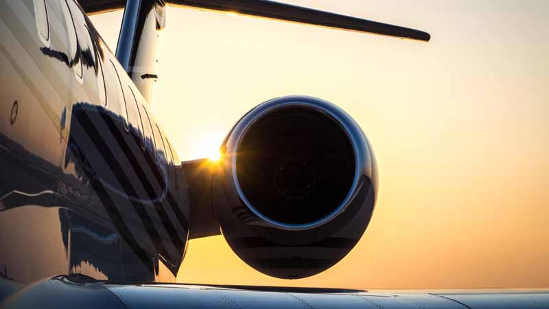 Closeup of a private business jet.