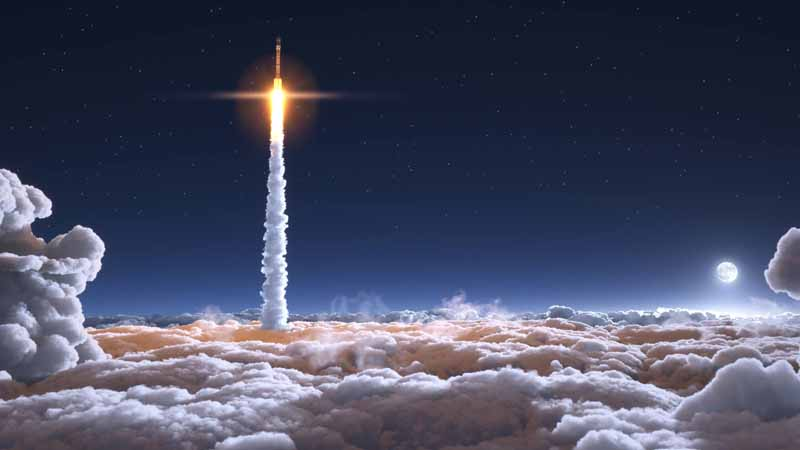 A rocket flying up through the clouds.