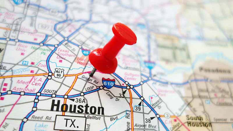 Red pushpin on Houston, Texas map.
