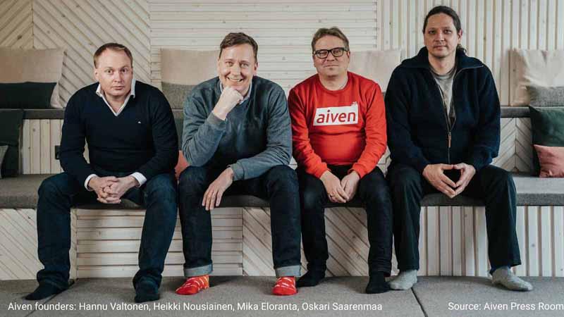 Aiven founders Hannu Valtonen, Oskari Saarenmaa, Heikki Nousiainen, and Mika Eloranta.