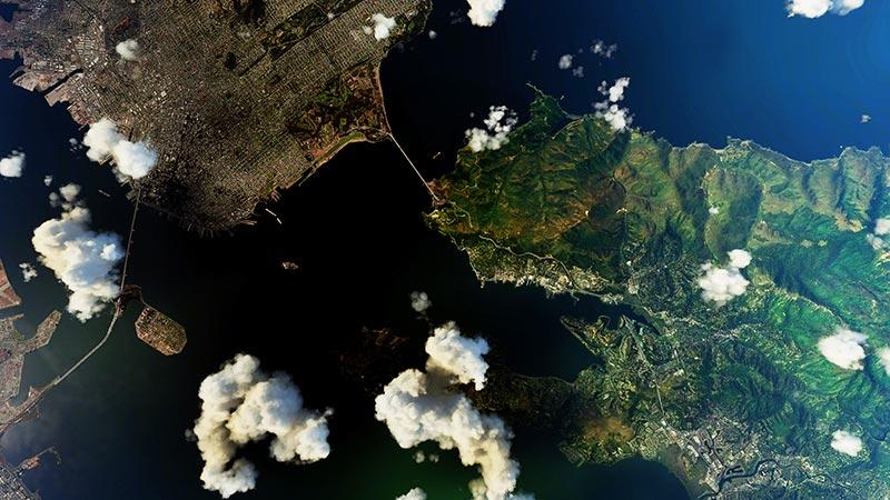 Satellite view of San Francisco, California.