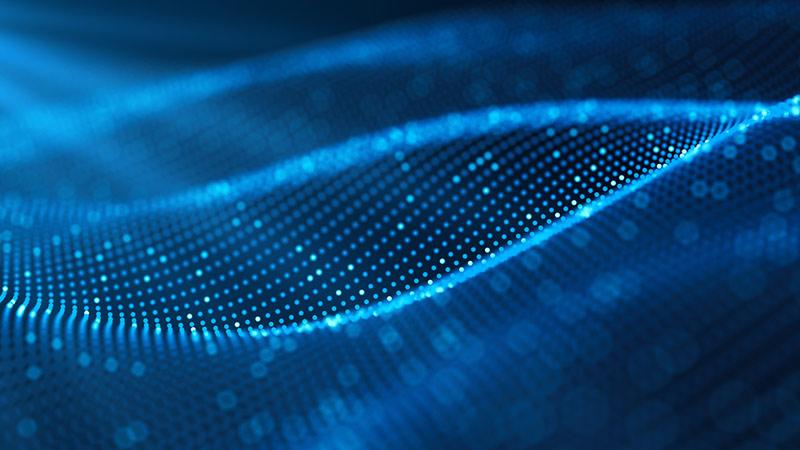 Futuristic digital blockchain background.
