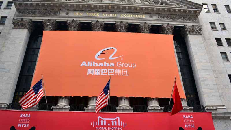 Alibaba Group banner at the New York Stock Exchange.