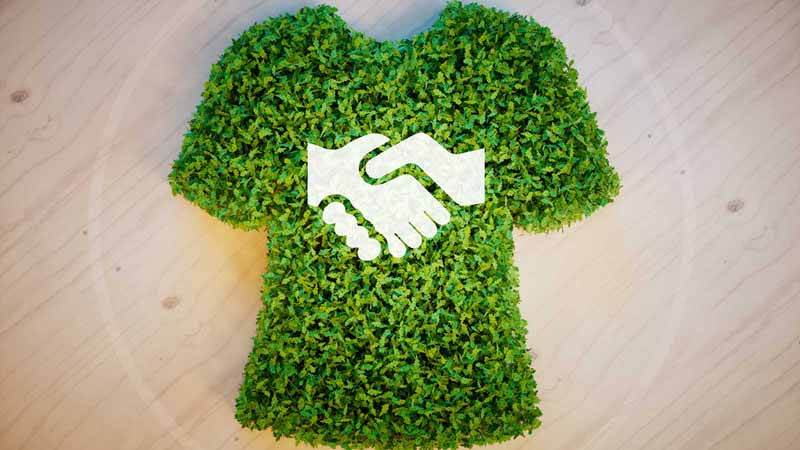 Shirt-shaped plant growth with a handshake in the middle.