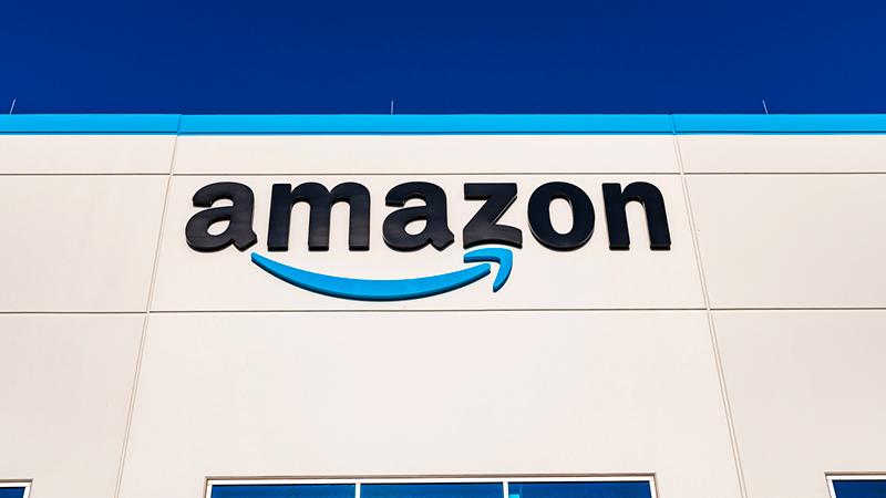 Closeup of an Amazon fulfillment center.