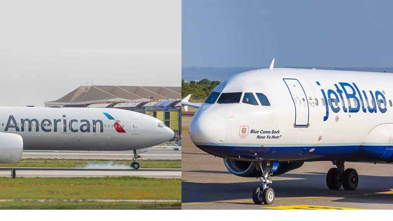 American Airlines and JetBlue planes.