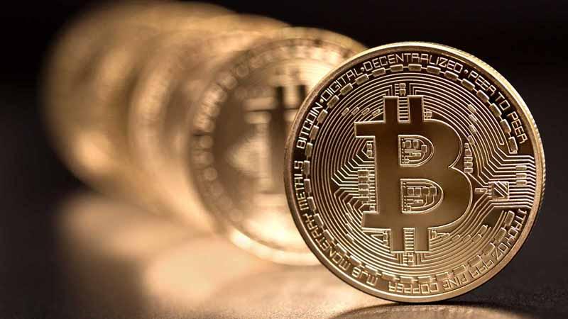 A row of Bitcoin.