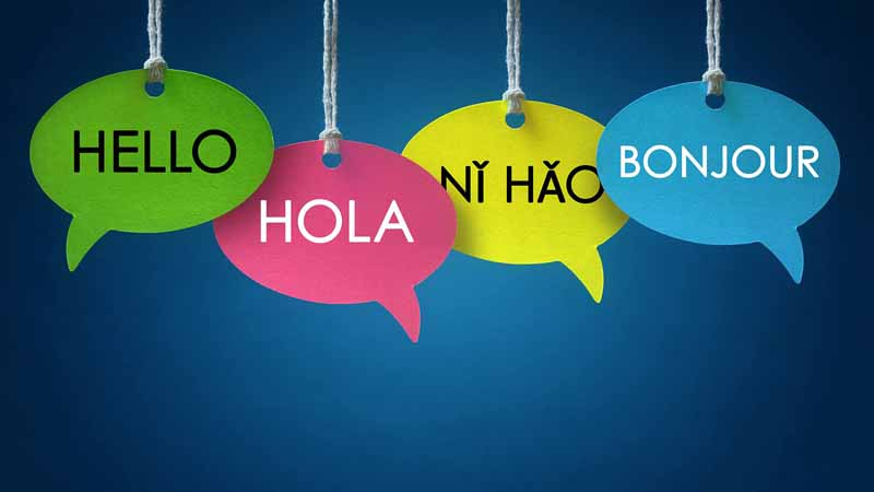 Speech bubbles saying hello in different languages.