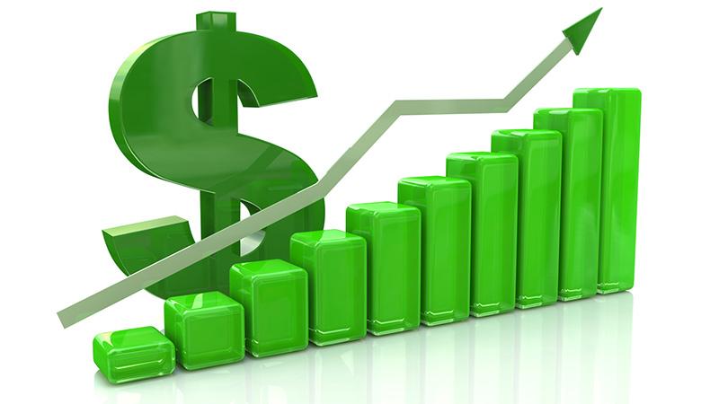 3D finance graph showing a rise.