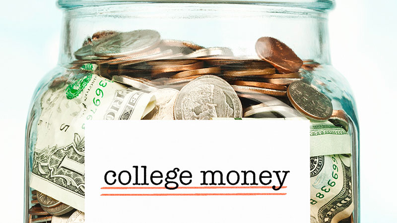 Jar labeled 'college money' filled with money.