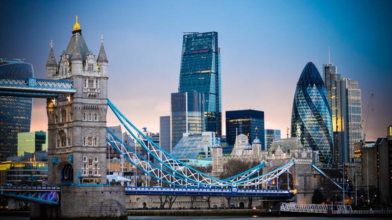 London skyline with the Tower Bridge.