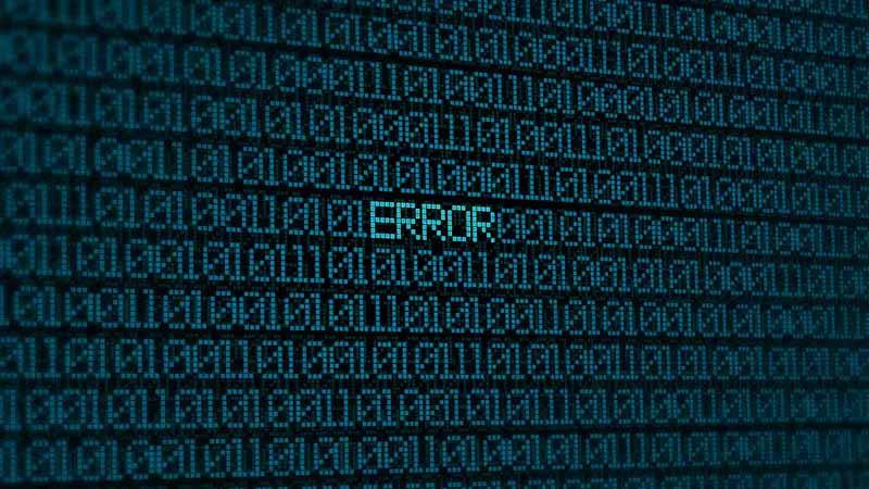 "Binary code with the word ""Error."""