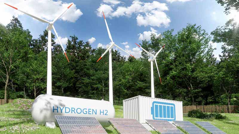 Wind turbines, solar panels, and hydrogen storage compartments.