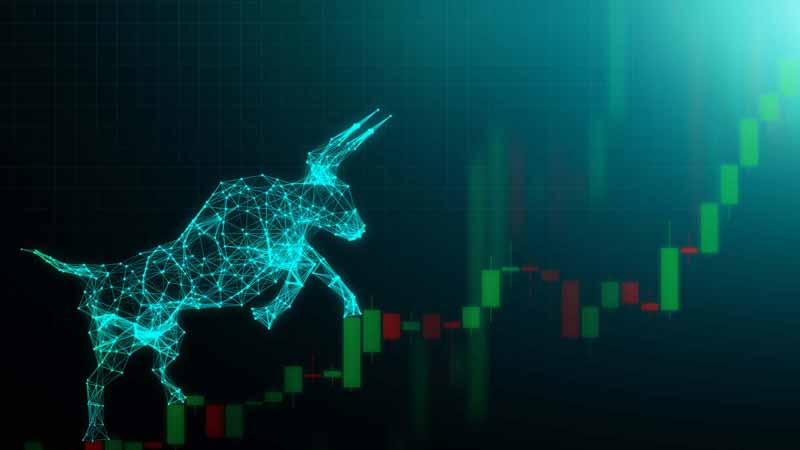 Digital concept of a rising bull market.