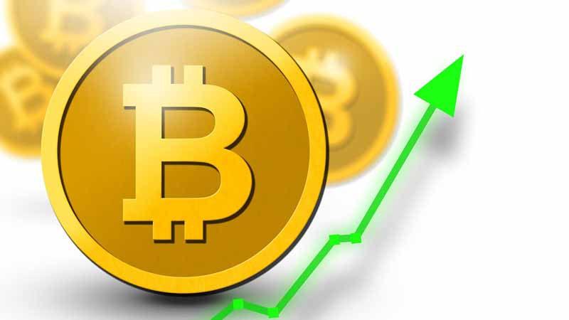 A bitcoin with an increasing line graph.