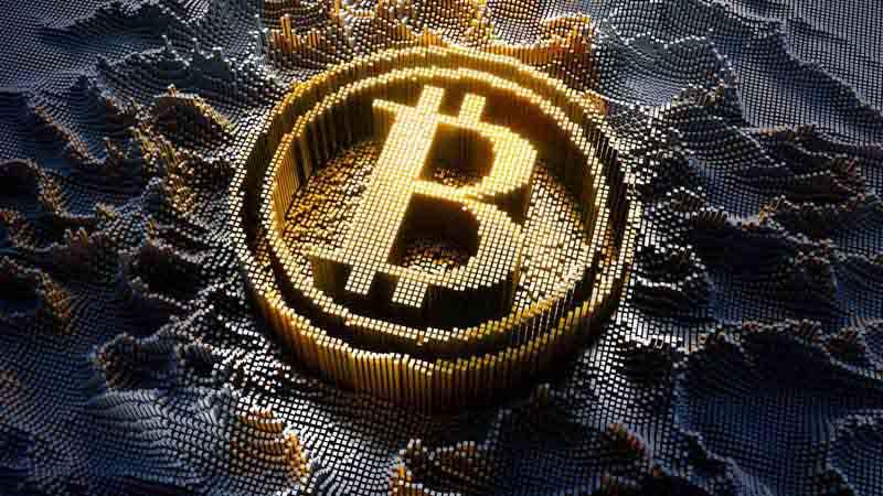 Digital illustration of Bitcoin symbol.