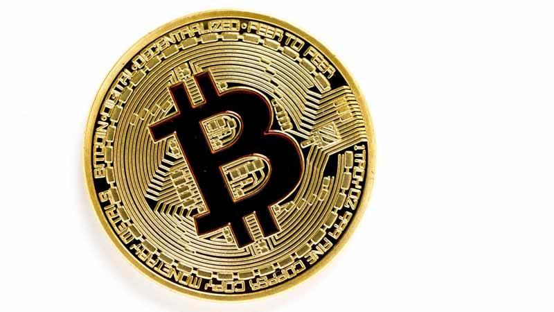 A golden bitcoin.